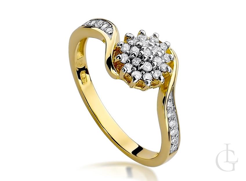 Złoty pierścionek zaręczynowy pr.0,585 z diamentami