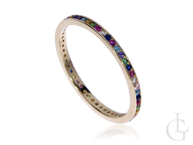 Złoty pierścionek obraczka pr.0,585 z kolorowymi cyrkoniami