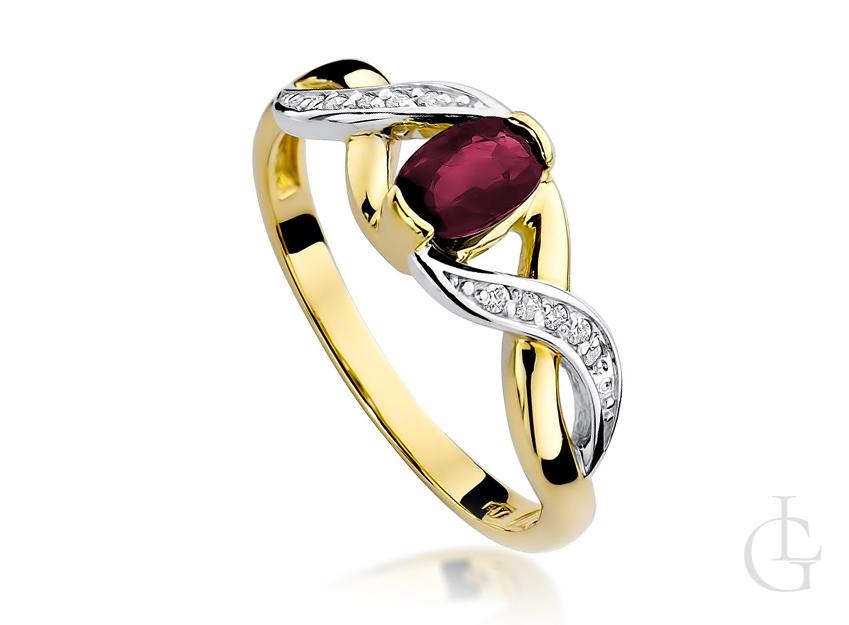 Pierścionek zaręczynowy ze złota pr.0,585 z rubinem i brylantami