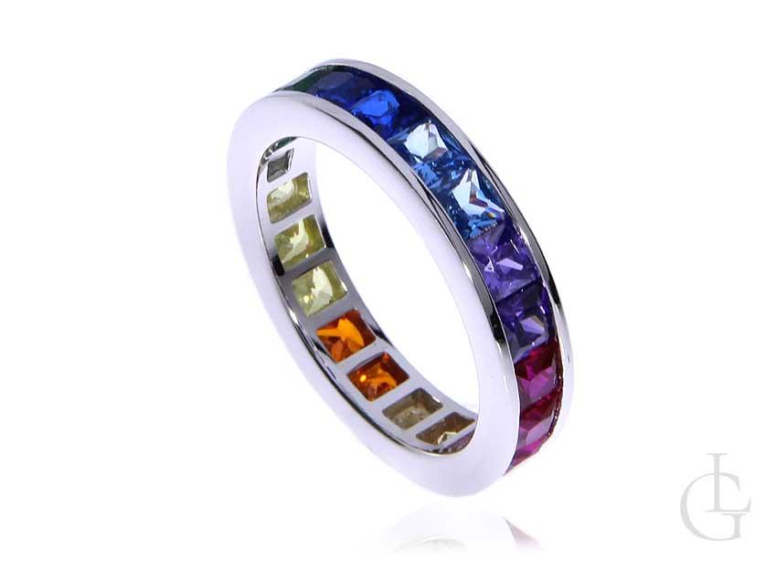 Cudowna obrączka pierścionek ze srebra pr.0,925 multicolor