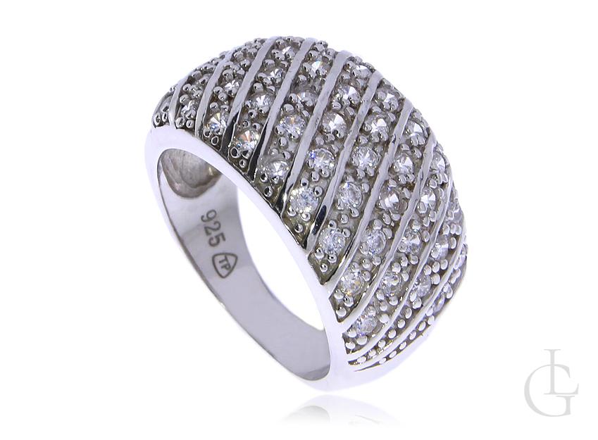 Szeroki pierścionek obrączka srebro rodowane pr.0,925 z cyrkoniami