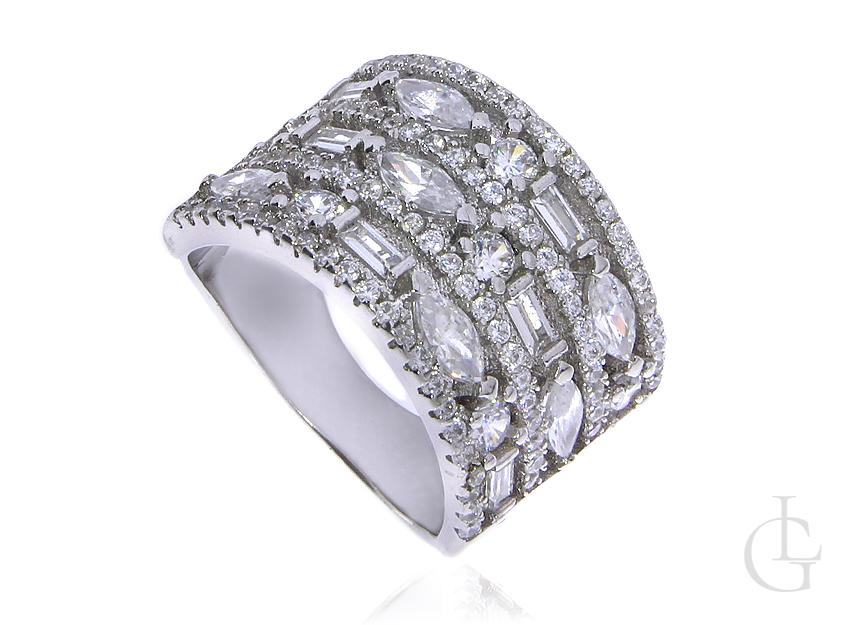 Cudowna połyskująca obrączka pierścionek ze srebra rodowanego pr.0,925 z cyrkoniami