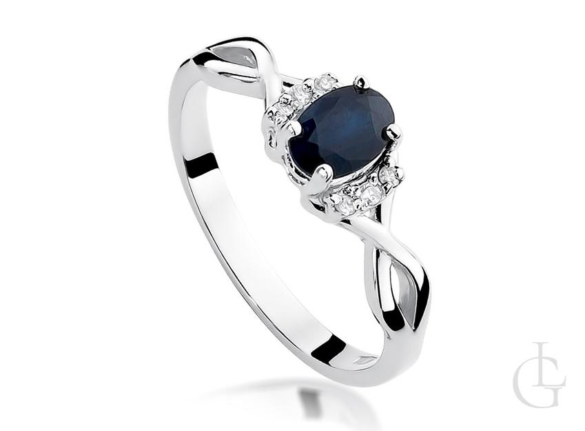 Piękny pierścionek zaręczynowy z białego złota pr.0,585 z szafirem i brylantami