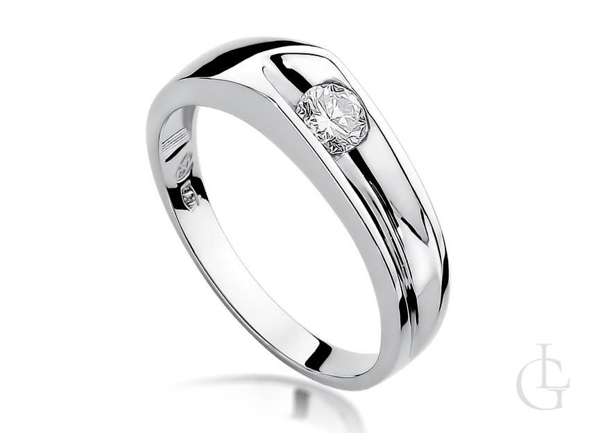 Pierścionek zaręczynowy z białego złota z brylantem