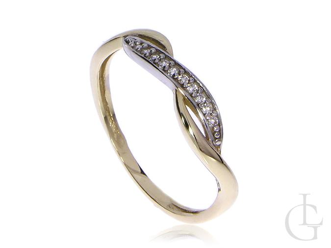 Subtelny pierścionek obrączka z klasycznego złota pr.0,585 z cyrkoniami