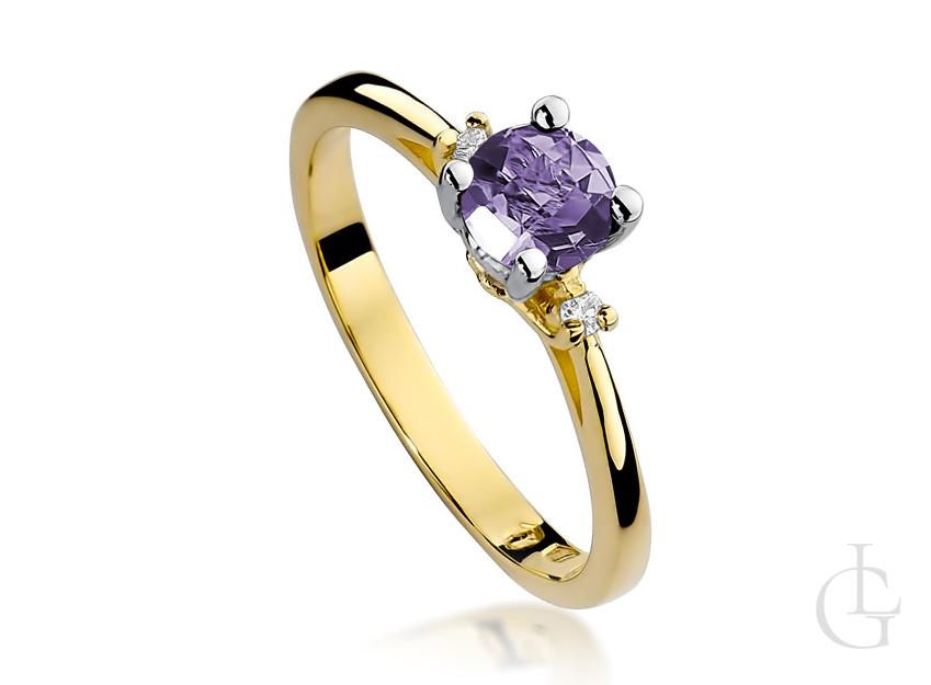 Pierścionek zaręczynowy ze złota pr.0,585 z ametystem i brylantami