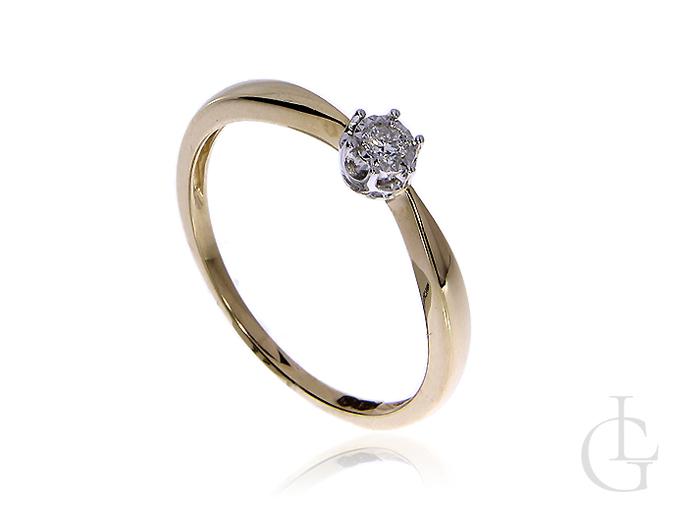 Złoty pierścionek zaręczynowy pr.0,585 na zaręczyny z brylantem