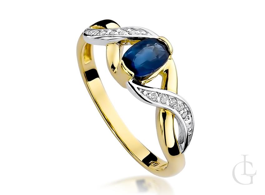 Pierścionek na zaręczyny złoto szafir i brylanty