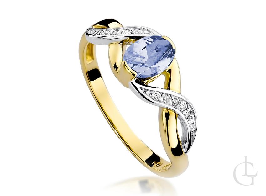 Pierścionek na zaręczyny ze złota pr.0,585 z tanzanitem i brylantami