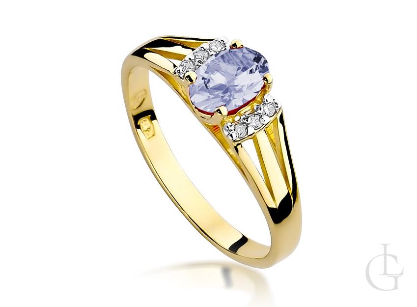 Pierścionek zaręczynowy złoty z tanzanitem i brylantami