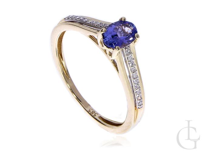 Złoty pierścionek zaręczynowy pr.0,585 z brylantami i tanzanitem