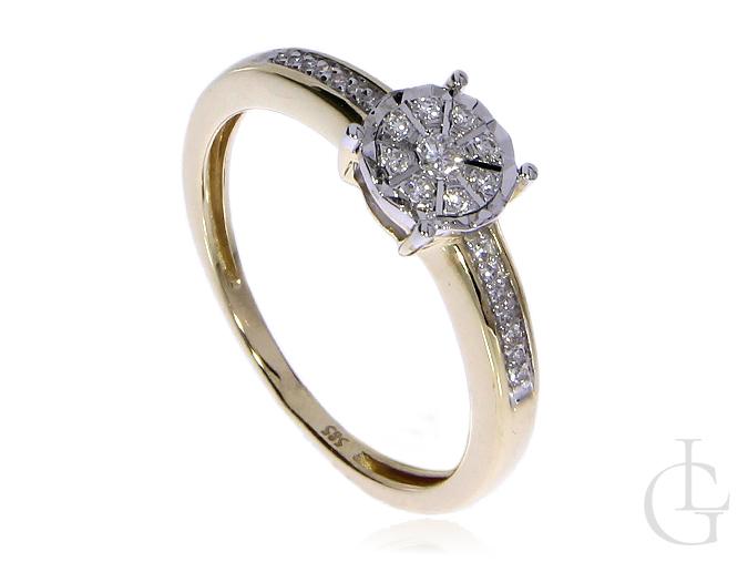 Złoty pierścionek pr.0,585 na zaręczyny z brylantami