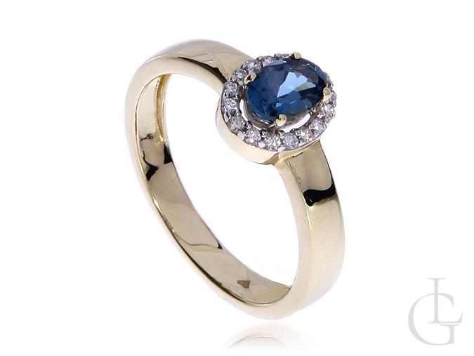 Pierścionek zaręczynowy ze złota pr.0,585 z brylantami i london blue topaz