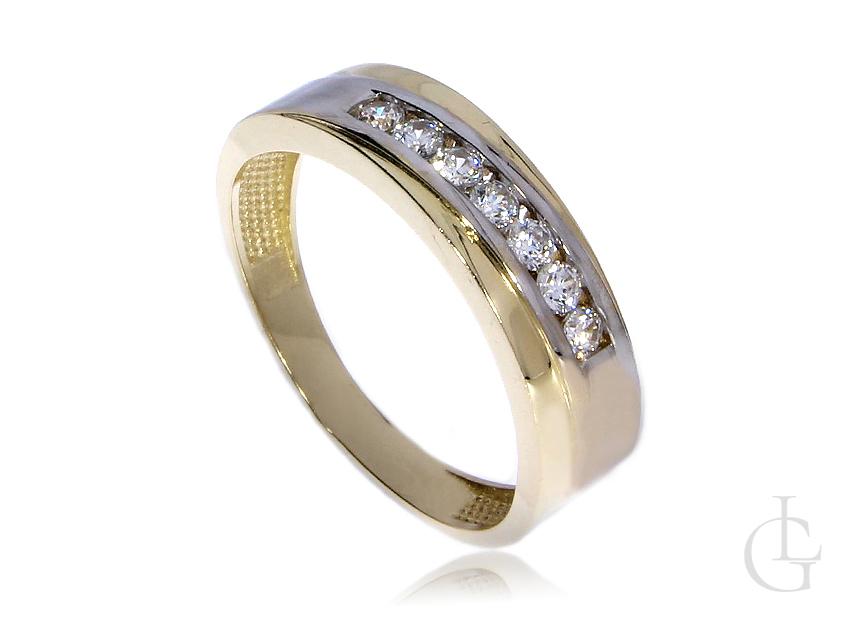 Obrączka pierścionek z cyrkoniami ze złota pr.0,585