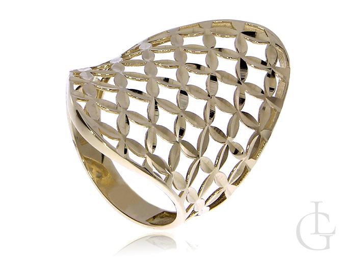 Szeroki diamentowany pierścionek ze złota pr.0,585 ażurowy na prezent