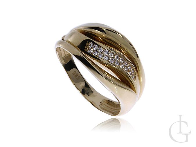 Pierścionek ze złota pr.0,585 szeroka obrączka z cyrkoniami