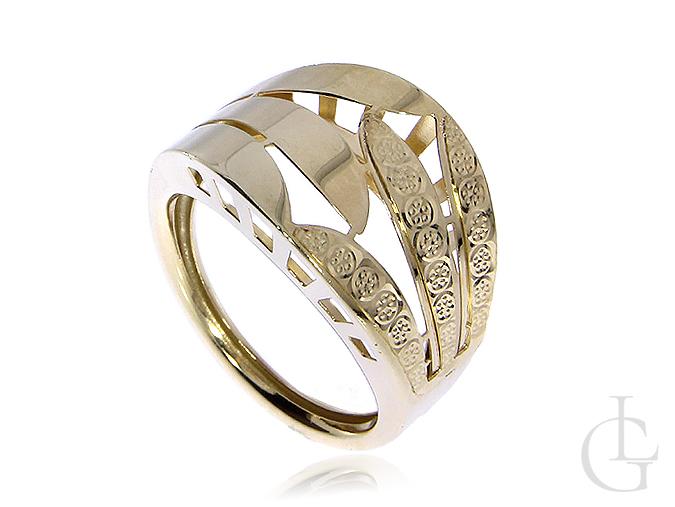 Szeroki pierścionek obrączka ze złota pr.0,585 na prezent
