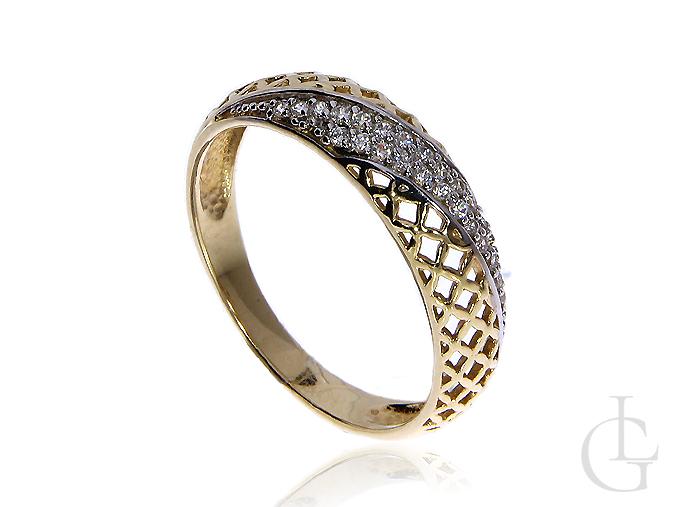 Złoty pierścionek ażurowy pr.0,585 z cyrkoniam