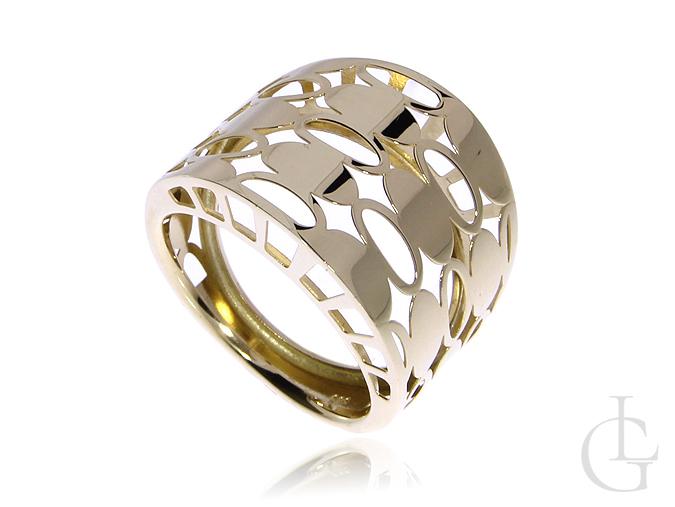 Modny pierścionek ze złota pr.0,585 szeroki ażurowy na prezent