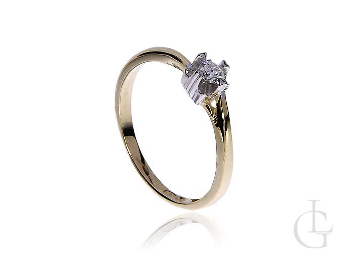 Pierścionek na zaręczyny z diamentem złoto pr.0,585