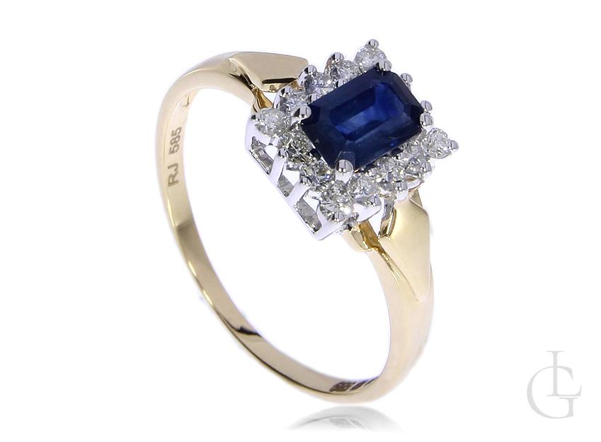 Przepiękny pierścionek zaręczynowy ze złota pr.0,585 z szafirem i brylantami