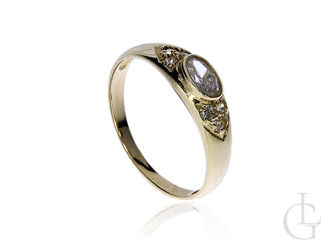 Pierścionek ze złota pr.0,585 na zaręczyny z cyrkoniami