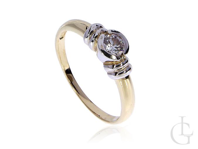 Złoty pierścionek na zaręczyny złoto białe i żółte 14K