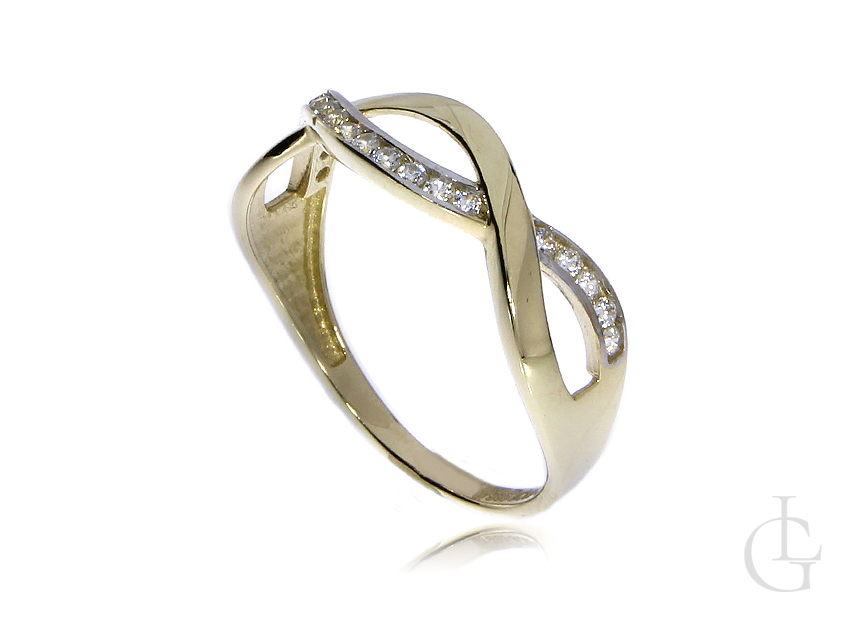 Złoty pierścionek obrączka pr.0,585 znaki nieskończoności z cyrkoniami