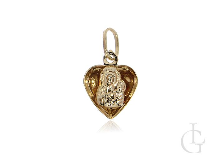 Złoty medalik pr.0,585 z Matką Boską Częstochowską na Chrzciny, I Komunię Świętą