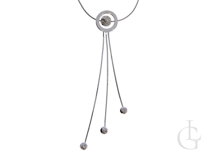 Srebrny naszyjnik krawat pr.0,925 z diamentowana kulką