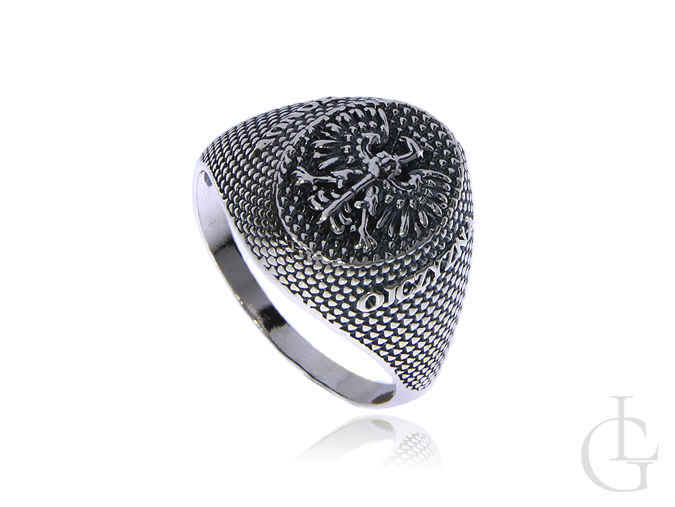 Sygnet pierścionek męski ze srebra pr.0,925 BÓG HONOR OJCZYZNA