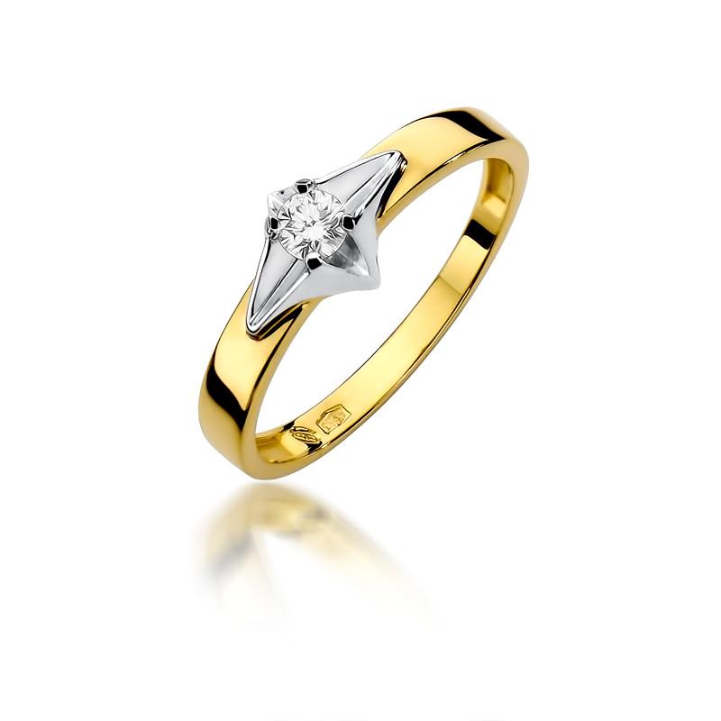 Pierścionek na zaręczyny z klasycznego i białego złota pr.0,585 z brylantem