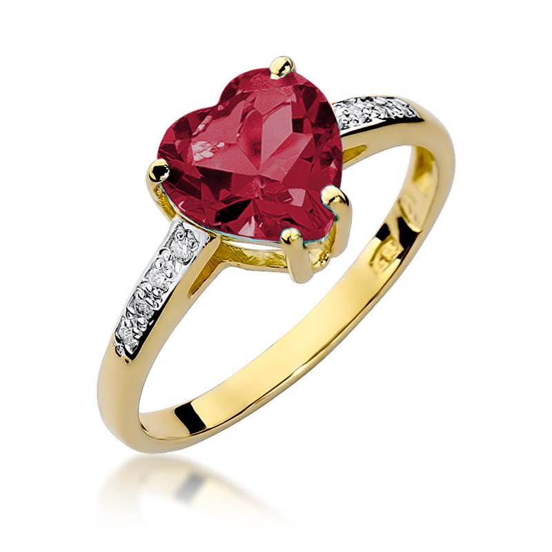 Piękny pierścionek z klasycznego złota pr.0,585 z rubinem w kształcie serca i brylantami