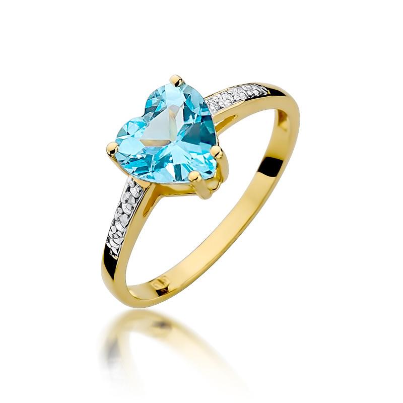 Piękny pierścionek z klasycznego złota pr.0,585 z topazem w kształcie serca i brylantami