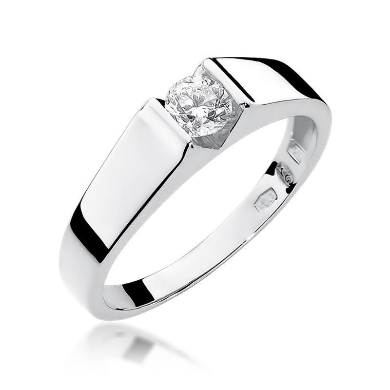 Klasyczny pierścionek ze złota 14k na zaręczyny z brylantem
