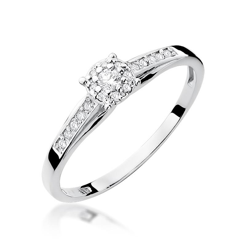 Przepiękny pierścionek na zaręczyny z 14 k białego złota z brylantami