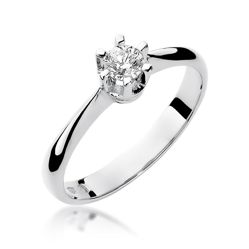 Pierścionek z białego złota pr.0,585 na zaręczyny z brylantem