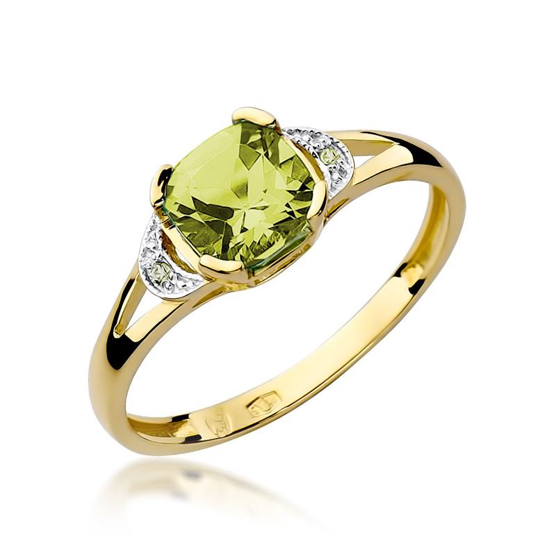 Złoty pierścionek na zaręczyny pr.0,585 z oliwinem i brylantami