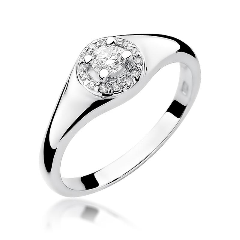 Białe złoto pr.0,585 pierścionek zaręczynowy z brylantami