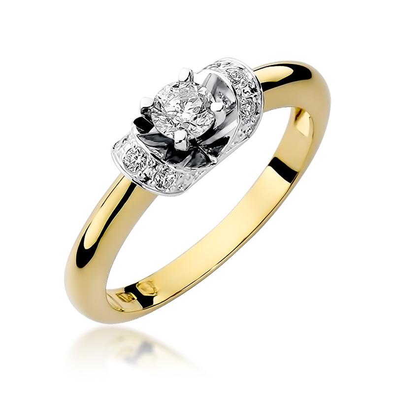 Bogato wysadzany brylantami złoty pierscionek zaręczynowy pr.0,585