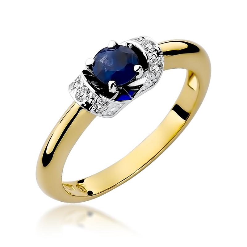 Złoty pierścionek na zaręczyny z szafirem naturalnym i brylantami