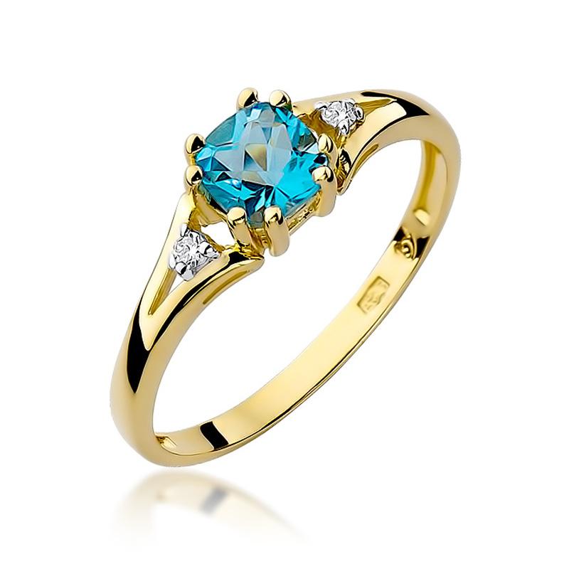 Pierścionek zaręczynowy z klasycznego złota 14ct z topazem i brylantami
