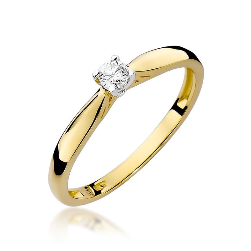 Pierścionek z klasycznego złota pr.0,585 na zaręczyny brylant