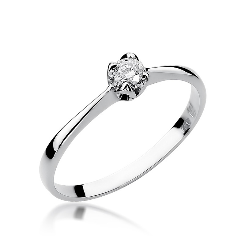 Złoty pierścionek na zaręczyny pr.0,585 z brylantem białe złoto pr.0,585