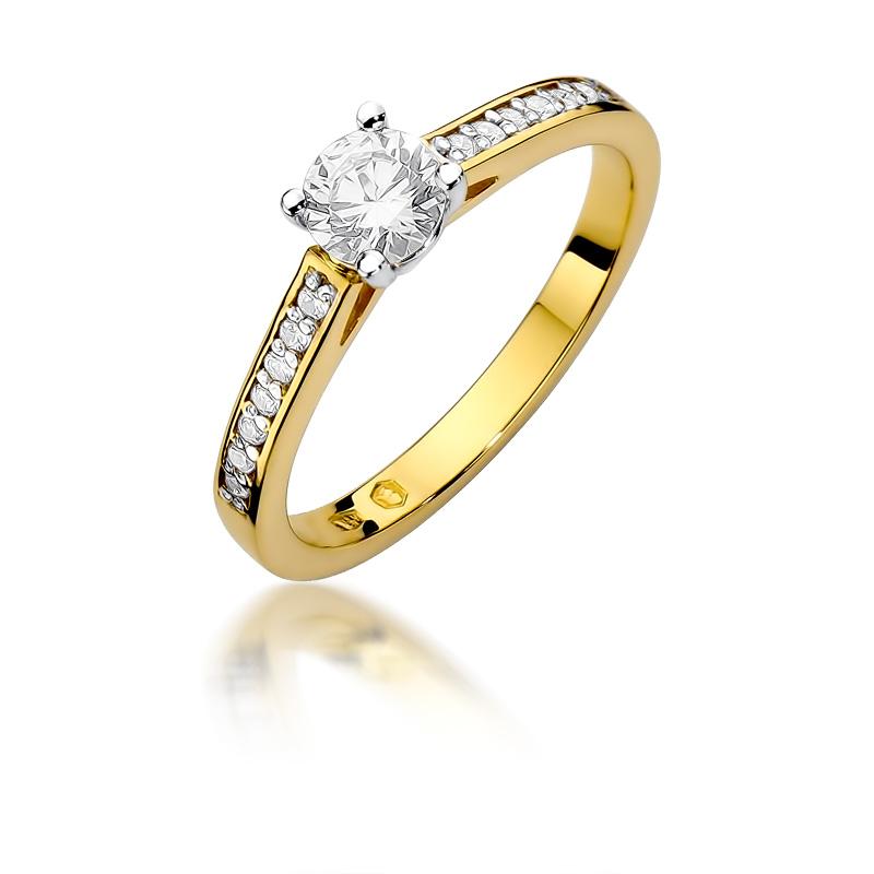 Pierścionek zaręczynowy z klasycznego złota pr.0,585 z brylantami