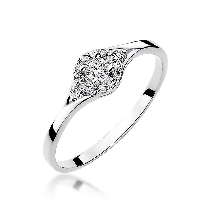 Złoty pierścionek zaręczynowy z białego złota pr.0,585 z brylantami