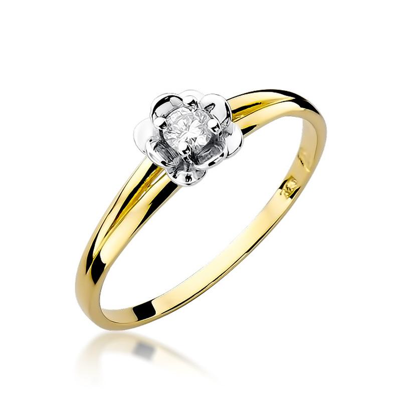 Złoty pierścionek zaręczynowy z brylantem żółte białe złoto pr.0,585