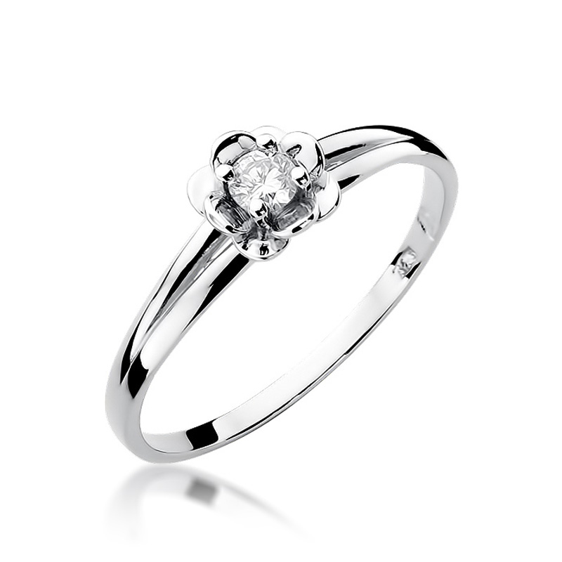 Złoty pierścionek zaręczynowy z brylantem białe złoto pr.0,585