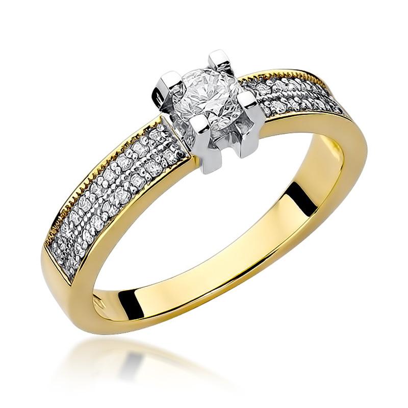 Pierścionek z klasycznego złota pr.0,585 z brylantami na zaręczyny prezent