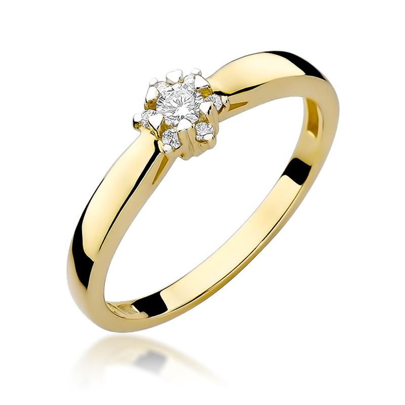Delikatny pierścionek zaręczynowy ze złota pr.0,585 z brylantem